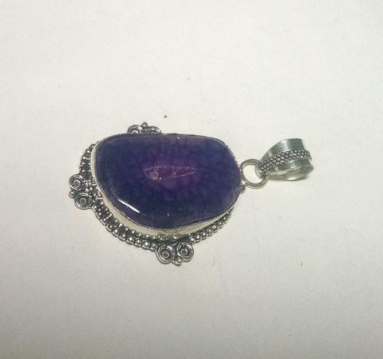 Other New Agate Geode Druzy Gemstone Pendant 925 Silver J589