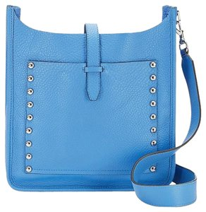 Rebecca Minkoff Leather Studded Silver New With Blue Cross Body Bag