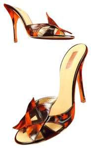 Roberto Cavalli Brown,Orange Mules