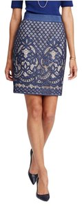 Ann Taylor Lace Pencil Beige Skirt Blue