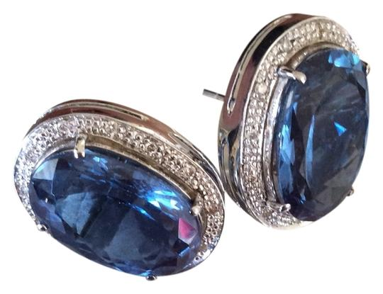 Other 14K Big Blue Topaz And Diamond Earrings