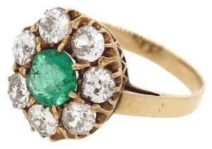 Vintage Estate 14k Yellow Gold Natural Emerald Cluster Diamond Engagement Ring