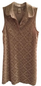 Maggy London short dress Taupe Lace Sleeveless on Tradesy