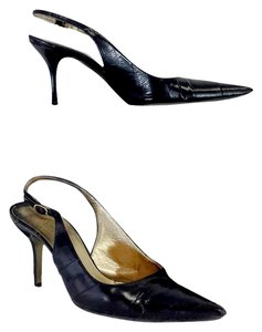 Dolce&Gabbana Black Leather Pointed Toe Slingbacks Sandals