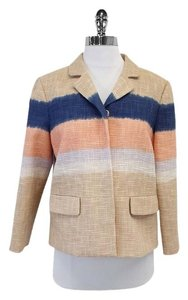 Tory Burch Nude Woven Cotton Striped Blazer