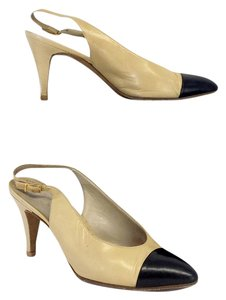Chanel Cream Black Leather Cap Toe Slingbacks Sandals