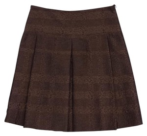 Burberry Bronze Black Metallic Pleated Skirt