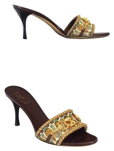 Gucci Brown Gold Veggie Print Heels Sandals
