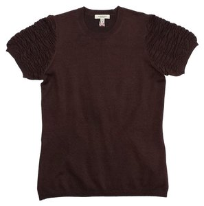 Burberry Brown Gathered Short Sleeve T Shirt