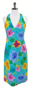 David Meister short dress Blue Floral Print Racerback on Tradesy