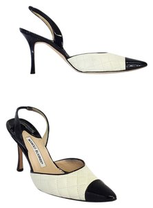 Manolo Blahnik White Black Leather Quilted Sandals