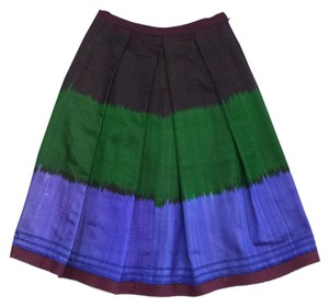 Oscar de la Renta Maroon Green Blue Pleated Skirt
