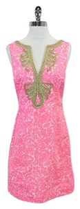 Lilly Pulitzer short dress Hot Pink Gold Trim Sleeveless on Tradesy