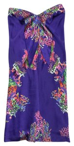 Halston short dress Purple Floral Silk Strapless on Tradesy