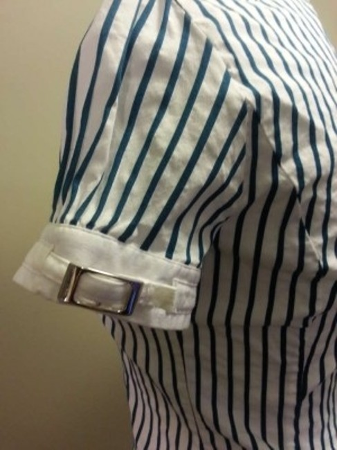Express Button Down Shirt Teal Pinstripe