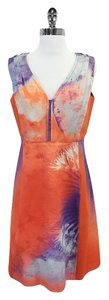 Elie Tahari short dress Orange Sleeveless Print on Tradesy