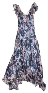 Maxi Dress by NICOLE FARHI Multi Color Floral Chiffon