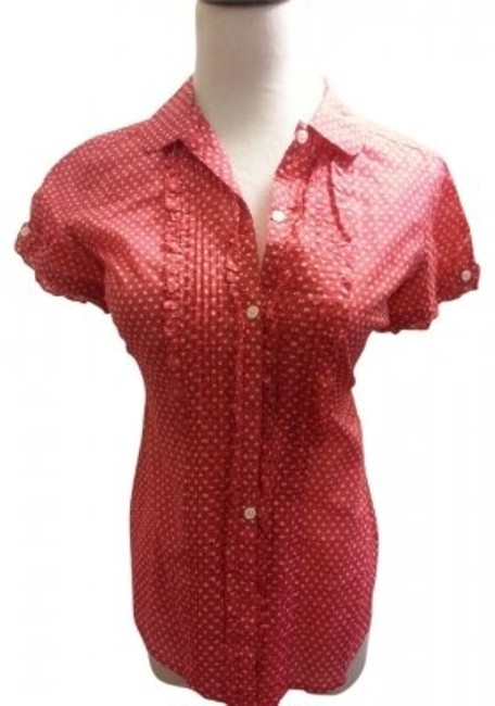 American Eagle Outfitters Button Down Shirt Polka Dot (Red)