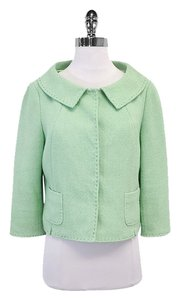 Elie Tahari Mint Green Cotton Cropped Jacket