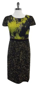Elie Tahari short dress Green & Black Print Silk Wool on Tradesy