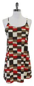 Alice + Olivia short dress Red & Brown Silk Spaghetti on Tradesy