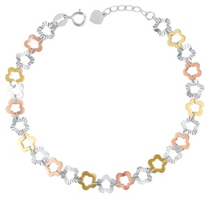 MBLife NEW 14K/585 YELLOW WHITE RED COLOR GOLD GOLD BRACELET STARS FLOWERS 3 tones