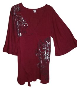 Reserved Bell Sleeves Empire Waist Tie Top Maroon/Silver/Black