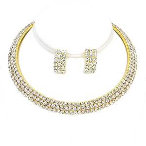 3-Row Rhinestone Choker Necklace Set