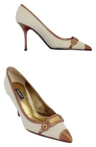 Dolce&Gabbana Beige Canvas Brown Leather Pumps