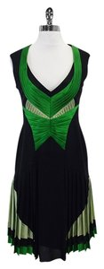 Zac Posen short dress Black & Green Sleeveless Pleated on Tradesy