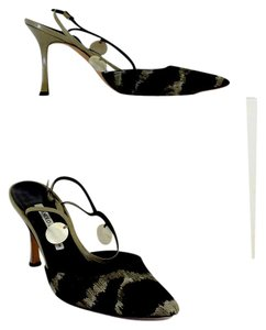 Manolo Blahnik Black Green Print Canvas Sandals