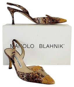 Manolo Blahnik Brown Snakeskin Leather Sandals