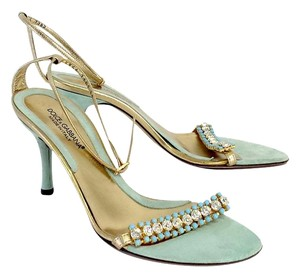 Dolce&Gabbana Seafoam Suede Jeweled Heels Sandals