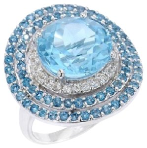 8.35ct Blue Topaz, London Blue Topaz and White Topaz Sterling Silver Ring - Size 9
