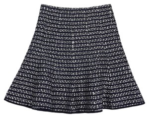 Nanette Lepore Navy Black White Textured Skirt