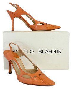 Manolo Blahnik Coral Cut Out Pointed Toe Slingbacks Sandals