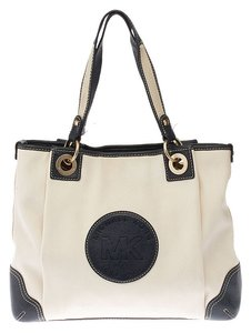 Michael Kors Canvas Leather Tote in Blue/White