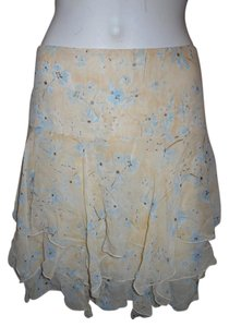 Banana Republic Silk Skirt pale yellow print