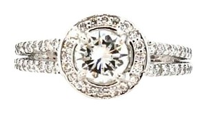50% OFF EGL 0.71ct E-F VS1 Round Brillant Halo Diamond Engagement Ring Size 5.25