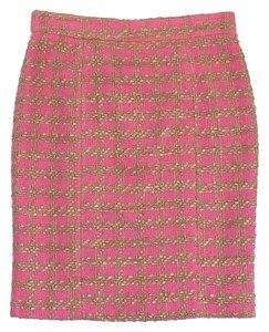 RED Valentino Pink Gold Tweed Pencil Skirt