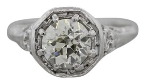 Antique Art Deco Platinum Filigree 1.46ctw Diamond Solitaire Engagement Ring