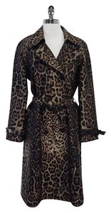 St. John Brown & Black Leopard Print Trench Coat