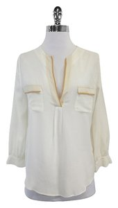 Joie White Beige High Low Silk Shirt Sweatshirt