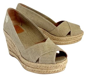Tory Burch Gold Canvas Espadrille Wedges