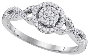 BrianG DESIGNER 10k WHITE GOLD 0.20 CTTW DIAMOND LADIES MICRO PAVE LUXURY FASHION ENGAGEMENT RING