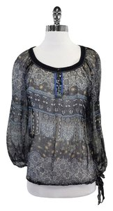 Sandro Blue & Black Floral Print Top