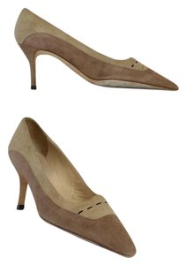 Manolo Blahnik Tan Beige Suede Pumps
