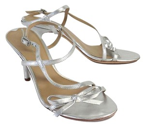 Via Spiga Silver Leather Strappy Heels Sandals