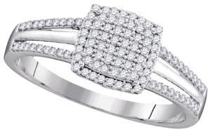BrianG DESIGNER 10k WHITE GOLD 0.25 CTTW DIAMOND LADIES MICRO PAVE LUXURY FASHION ENGAGEMENT RING