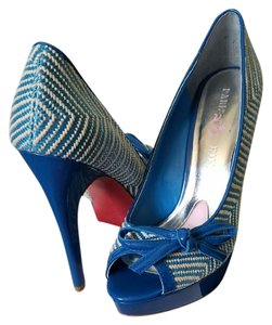 Paris Hilton Blue & white Platforms